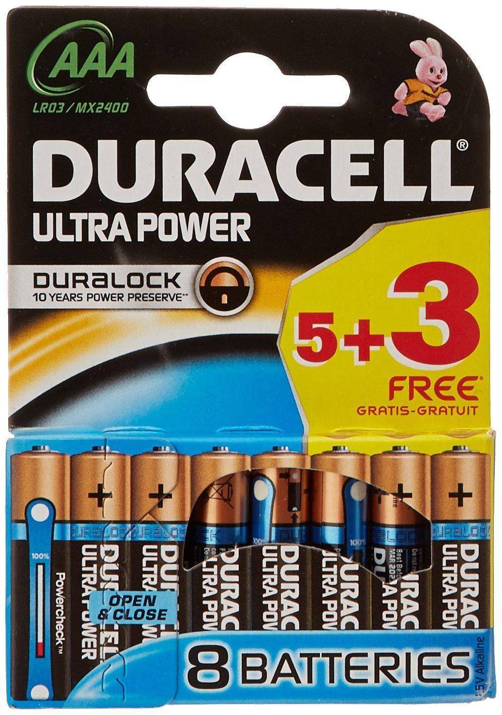 Lot de 8 piles Duracell Ultra Power Pile Alcaline AAA