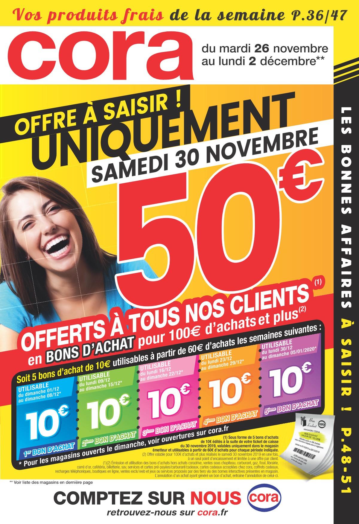 50€ remboursés en bons d'achat dès 100€ d'achat (sous forme de 5 bons d'achat de 10€)