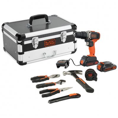 Perceuse à percussion 18V + 2 bat Li-Ion 1,5Ah + chargeur + 6 outils à main avec coffret