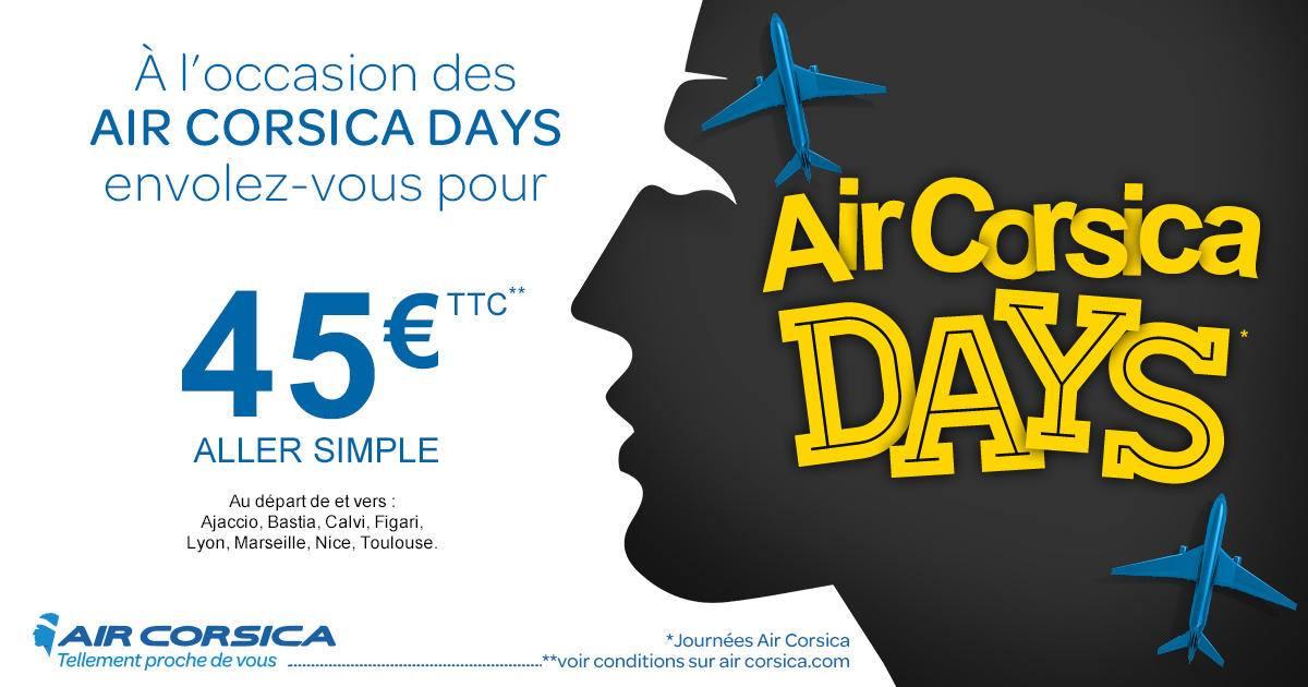 Vol aller simple au départ de Lyon, Marseille, Nice et Toulouse vers la Corse pour 45€