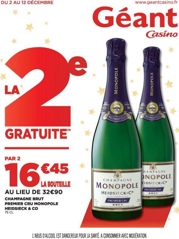 2 bouteilles de Champagne Heidsieck & Co - Brut premier cru monopole (avec 9.87€ en bon d'achat)
