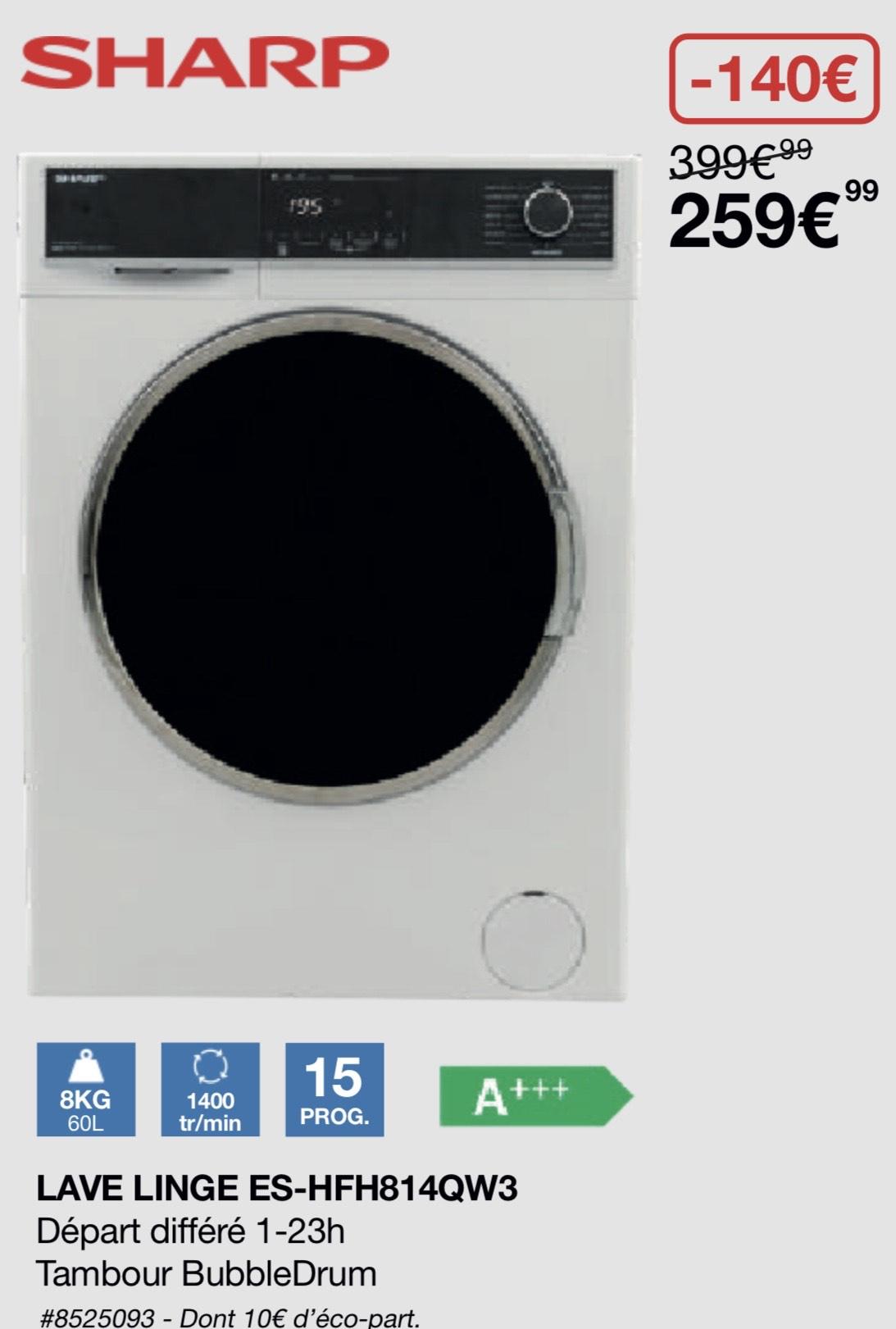 [Carte Costco] Lave-linge frontal Sharp ES-HFH814QW3 (8 kg, 1400 trs/min, A+++) - Villebon-sur-Yvette (91)