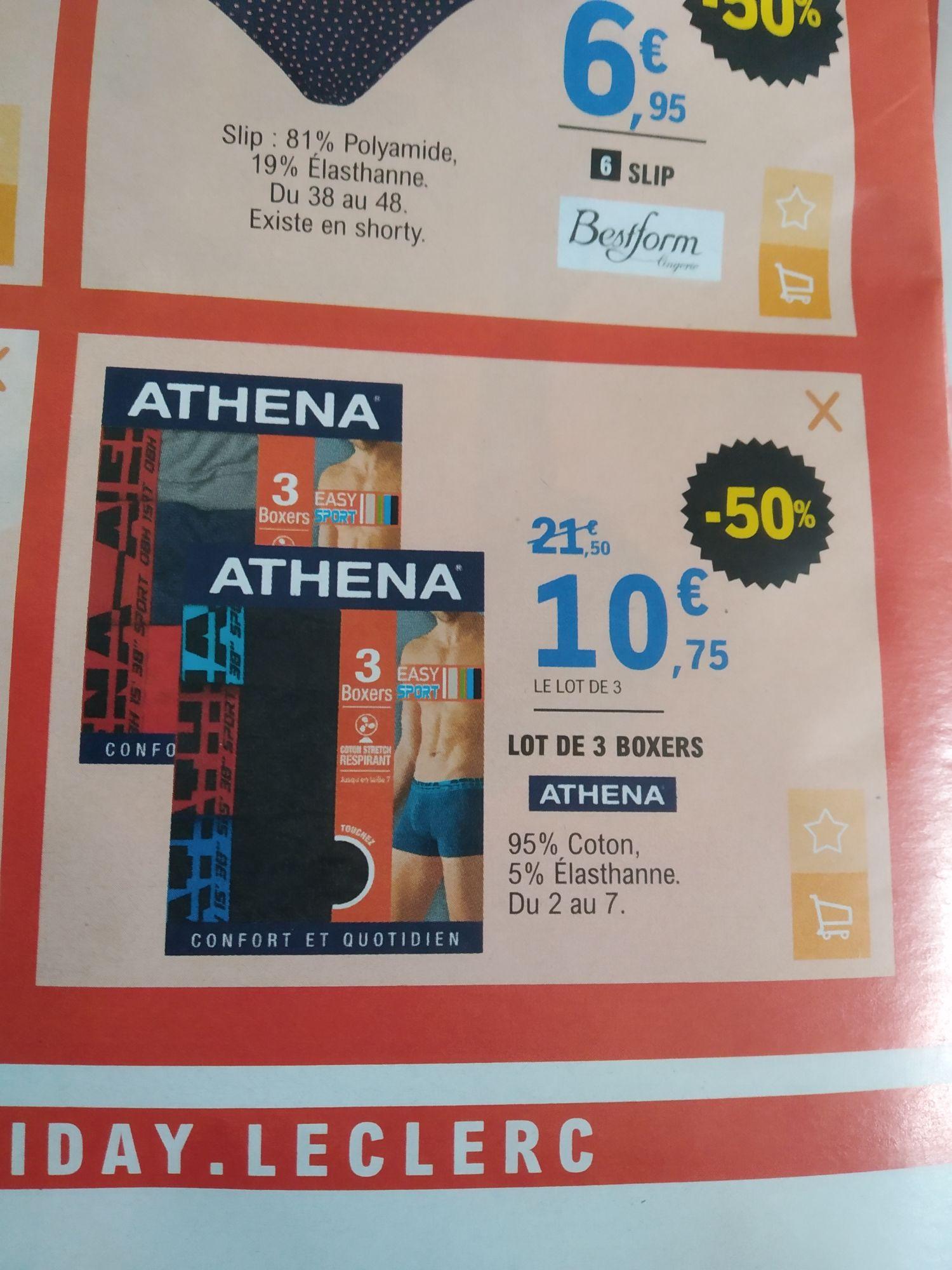 Lot de 3 boxers Athena - du 2 au 7