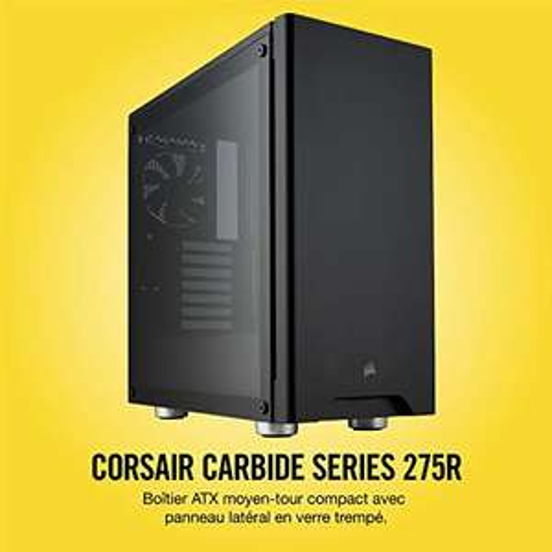 Boîtier PC Gaming Corsair Carbide 275R (Moyenne Tour ATX avec Fenêtre en Verre Trempé) - Noir