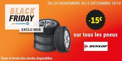 15€ de réduction sur tous les pneus Dunlop - Ex: 4 pneus Dunlop Sport BluResponse 195/65 R15 91H avec 25€ en carte Leclerc : 26,65€/pneu