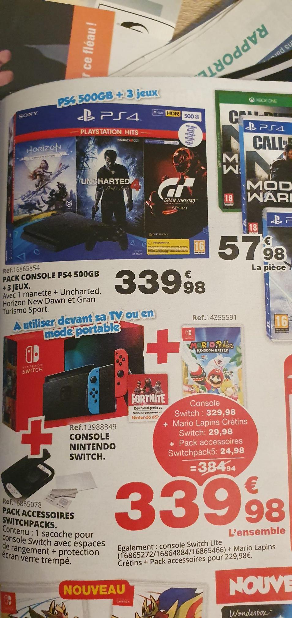 Pack console Nintendo Switch + Mario & les Lapins crétins + Pack accessoires