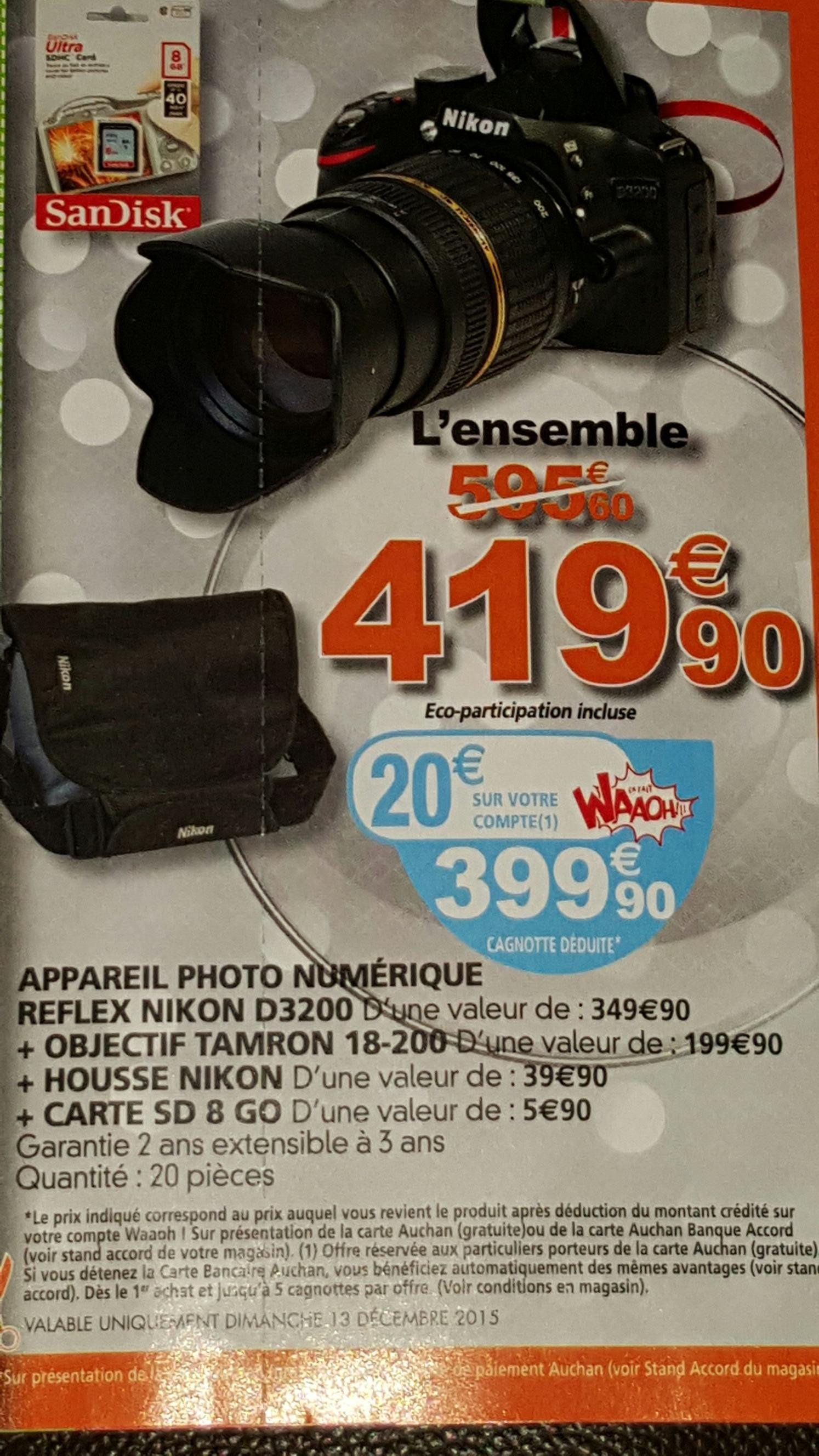 Nikon D3200 + Tamron 18-200 + housse + SD 8Go (20€ sur la carte fidélité)