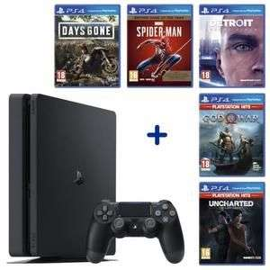 Pack Console Sony PS4 Slim 500 Go Noire + 5 jeux