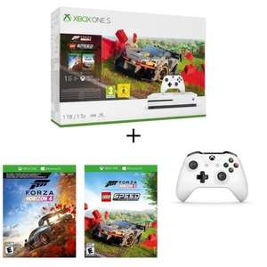Pack Console Microsoft Xbox One S 1 To + 2e manette+ Forza Horizon 4 + DLC Lego + 1 mois d'essai au Xbox Live Gold