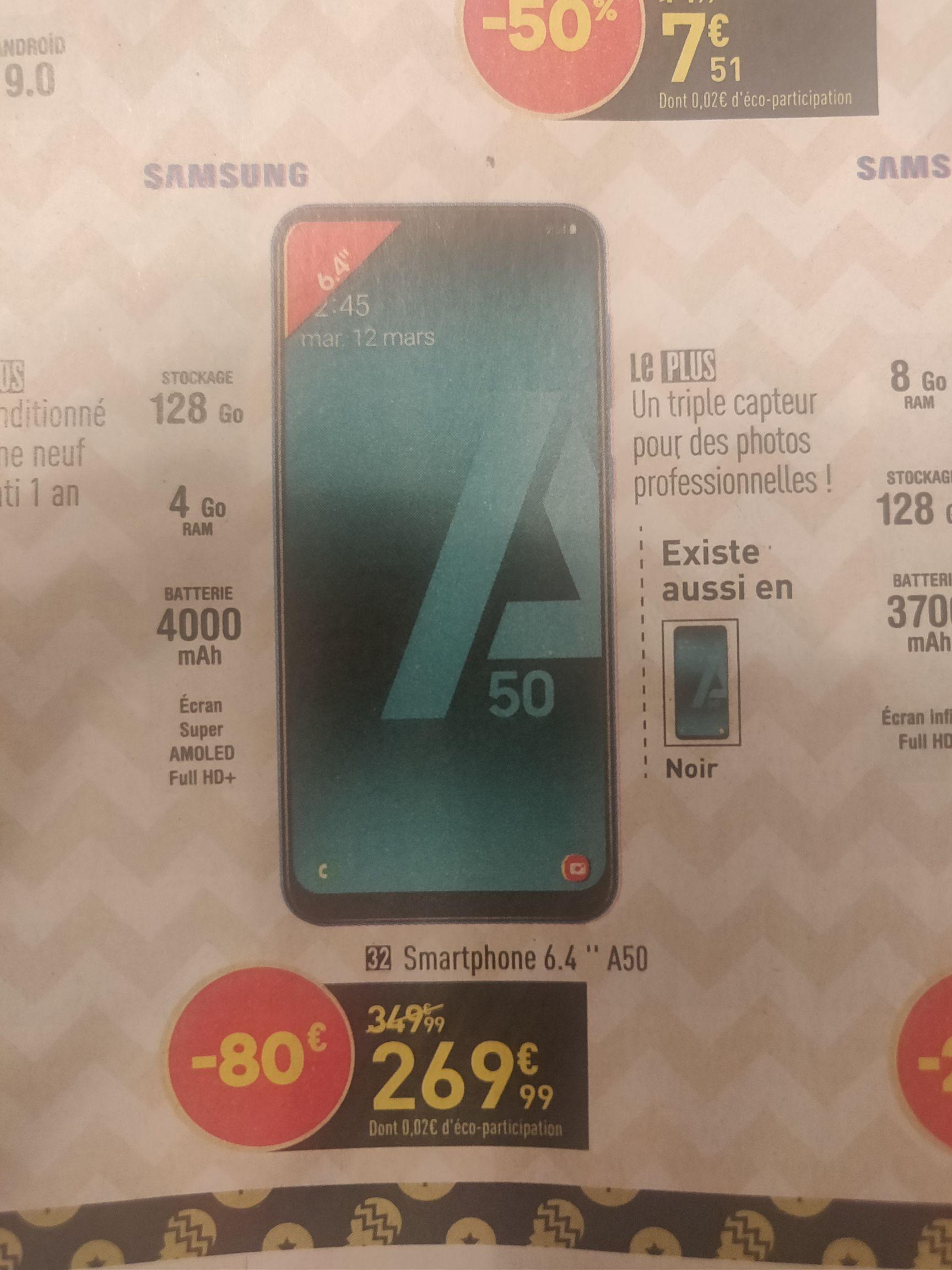 "Smartphone 6.4"" Samsung Galaxy A50 - 128go, 4Go de Ram"