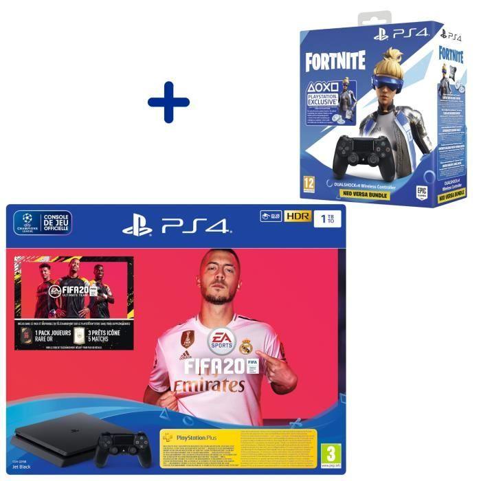 Pack Console PS4 Slim 1 To + FIFA 20 + Manette DualShock 4 V2 Noire + PS Plus Voucher 14 Jours + Voucher Fortnite