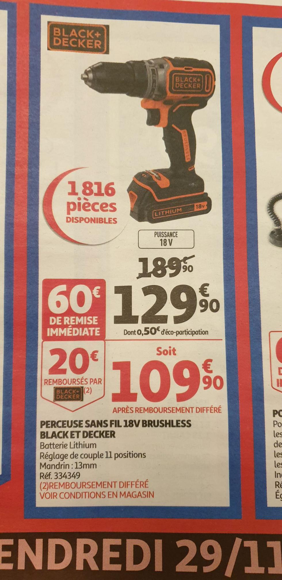 Perceuse sans fil Black + Decker - 18 V (Via ODR 20€)
