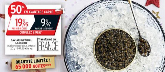 Boite de caviar Labeyrie 20g (9.97€ sur la carte)
