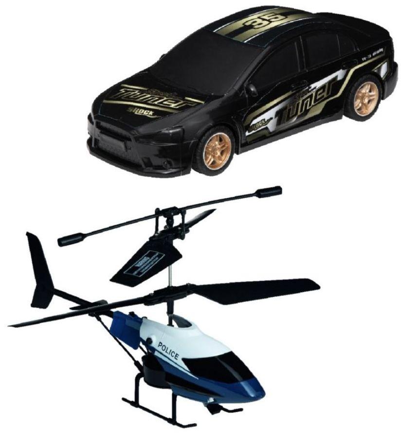 Hélicoptère et voiture radiocommandés Aérospeed - 2 télécommandes de portée 10 m