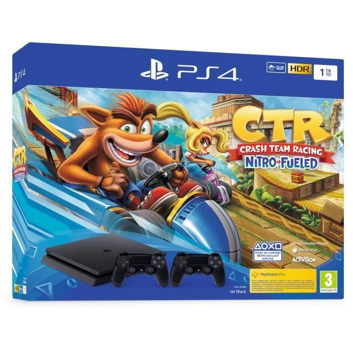 Pack Console PS4 Slim - 1 To + Crash Team Racing + 2ème Manette DualShock 4 V2