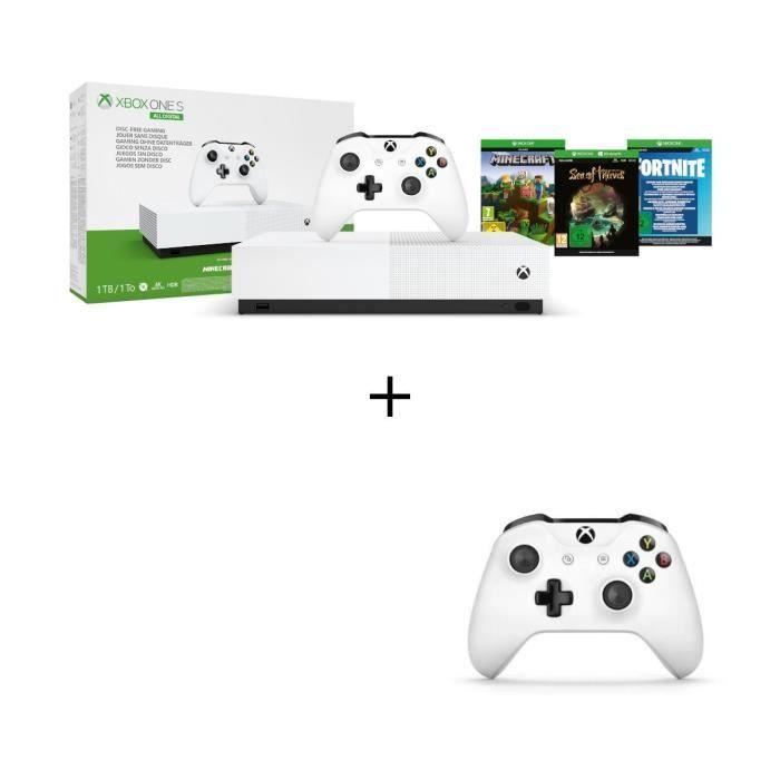 Pack console Microsoft Xbox One S All Digital (1 To) + Manette Xbox + 3 jeux (dématérialisés)