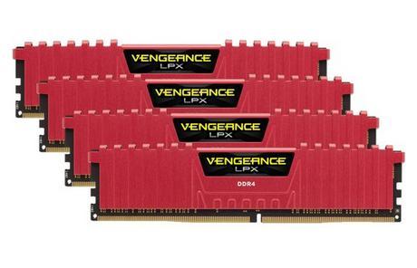 Kit mémoire DDR4 Corsair Vengeance LPX, Rouge, 16 Go (4 x 4 Go), 2400 MHz, CAS 14
