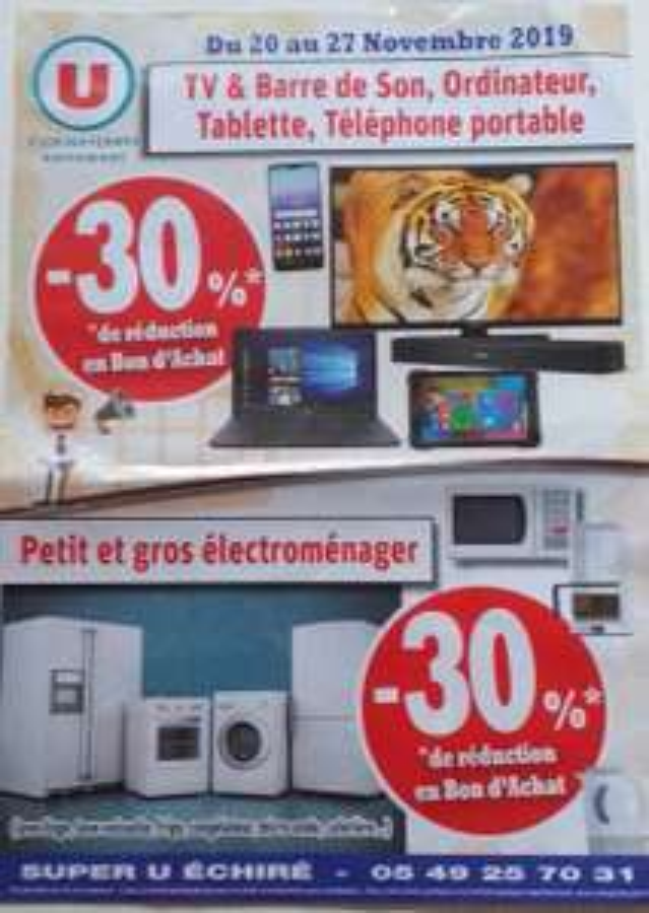 30 % en bons d'achat sur TV, ordinateurs, téléphones portables, petit et gros électro-ménager (Echiré 79)