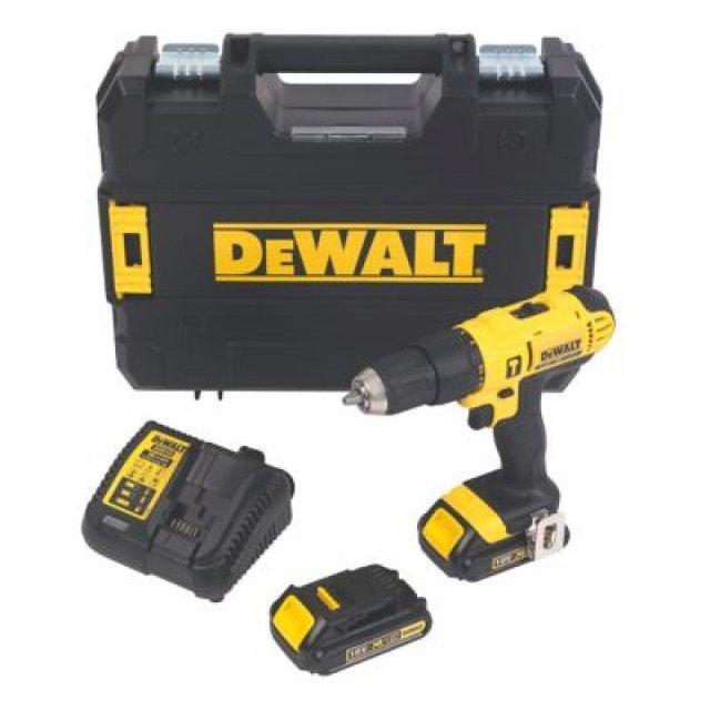 Perceuse-visseuse à percussion 18V Dewalt DCD776S2T-GB - 2x1.5Ah batteries + chargeur + coffret TSTAK
