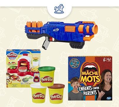 2 jeux de société, jouets ou pistolets Nerf achetés (parmi une sélection) = le 3ème offert