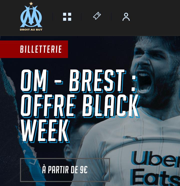 Billet pour le match de football Ligue 1 Olympique de Marseille / Stade Brestois 29 - le 29/11 (20 h 45), cat. 11 à 9€