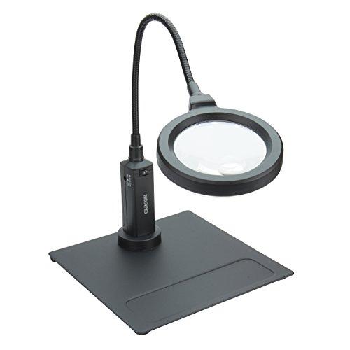 Loupe sur pied Carson MagniFlex Pro - Grossissement 2x, petite lentille grossissement 4x, éclairage LED, support magnétique