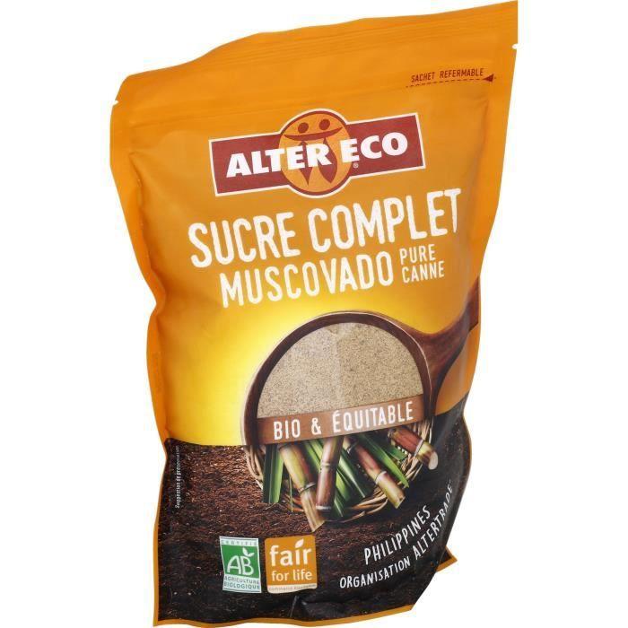 Lot de 2 sachets de Sucre Complet Muscovado Alter Eco - 2 x 500 g