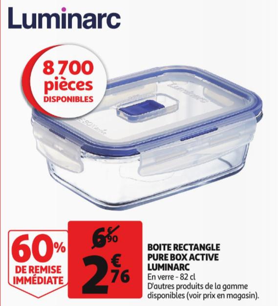Boites de Conservation en Verre Luminarc Pure Box Active en Promotion - Ex: Rectangle 0,82L