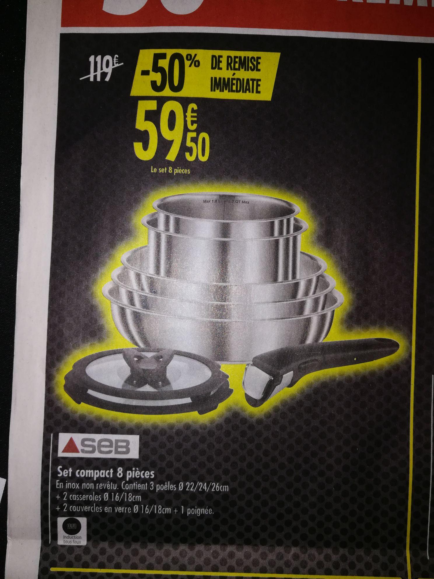 Batterie de cuisine Seb - 8 pièces, Tous feux dont induction