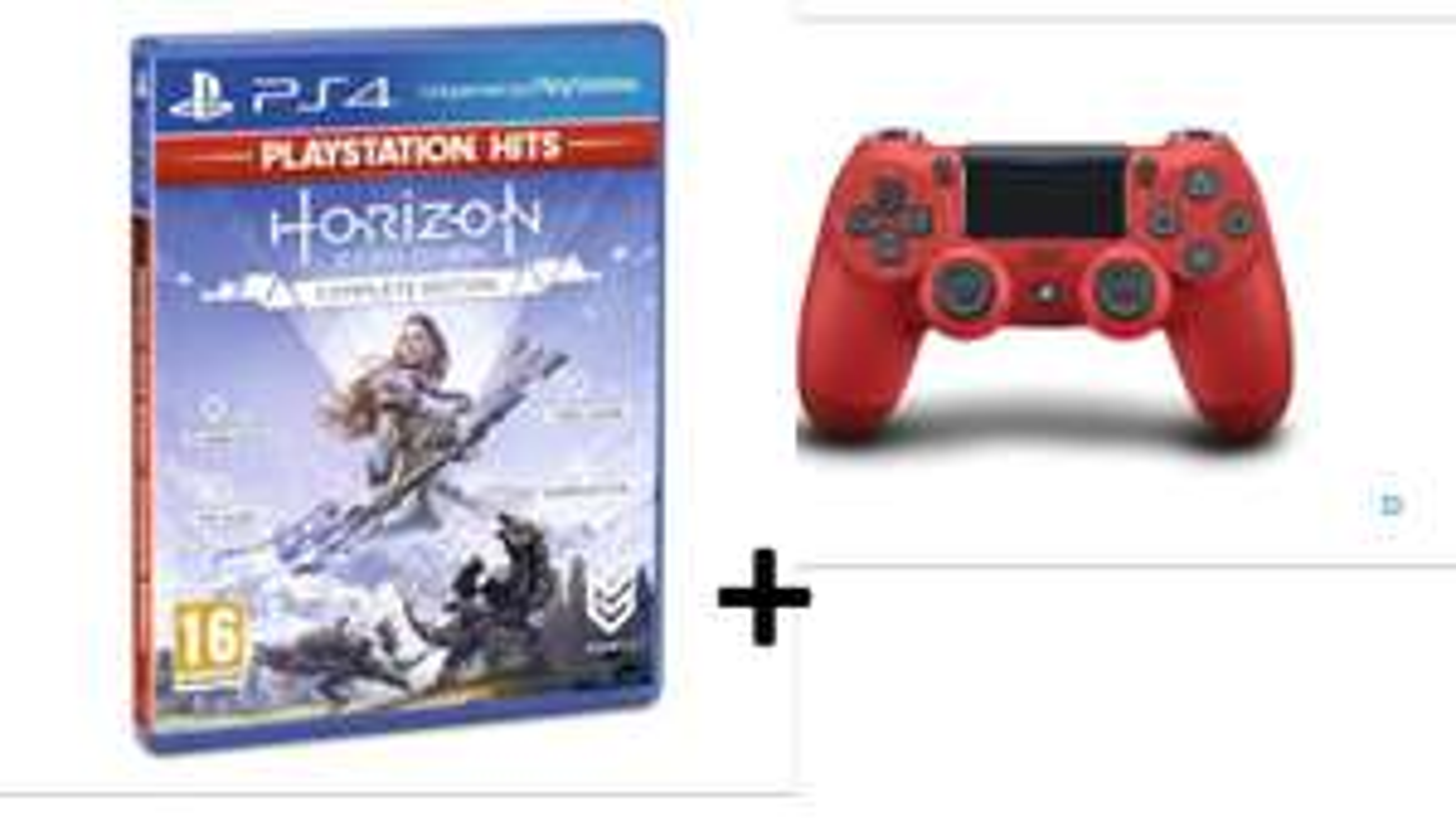 Sélection de packs manette PS4 + jeu en promotion - Ex : Manette PS4 Sony Dual Shock 4.0 V2 Rouge + Horizon : Zero Dawn Complete Edition