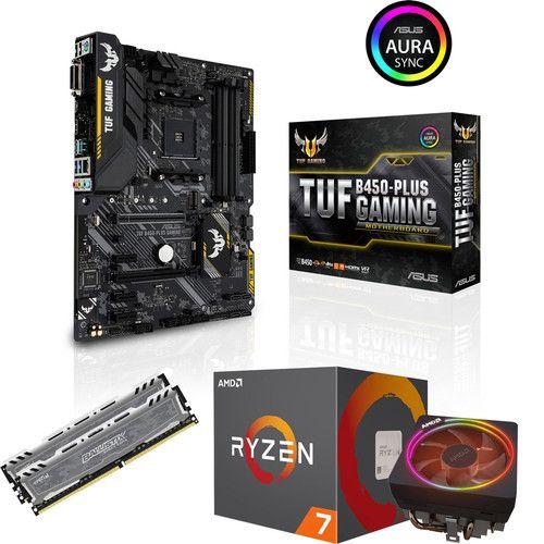 Processeur AMD Ryzen 7 2700X + Carte Mère Asus TUF B450 Plus Gaming + Kit Mémoire DDR4 Ballistix Sport LT 16 Go (2x8) - 3000 MHz, CL15