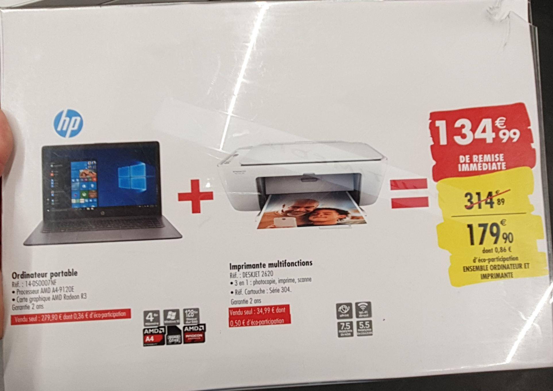 """PC portable 14"""" HP 14-ds0007nf (A4-9120E, Radeon R3, 4 Go de RAM, 64 Go, Windows 10S) + imprimante jet d'encre HP DeskJet 2620 (Les Ulis 91)"""