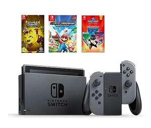 Pack console Nintendo Switch (avec Joy-Con Gris) + Hasbro Game Night + Mario & The Lapins Crétins: Kingdom Battle + Rayman Legends