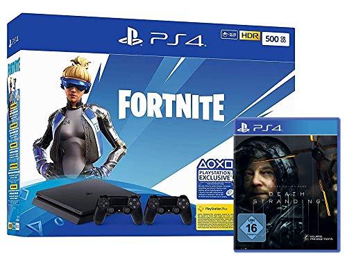 Pack console Sony PlayStation PS4 Slim (500 Go, noir) + 2ème manette + Death Stranding + bundle Fortnite Neo (dématérialisé)