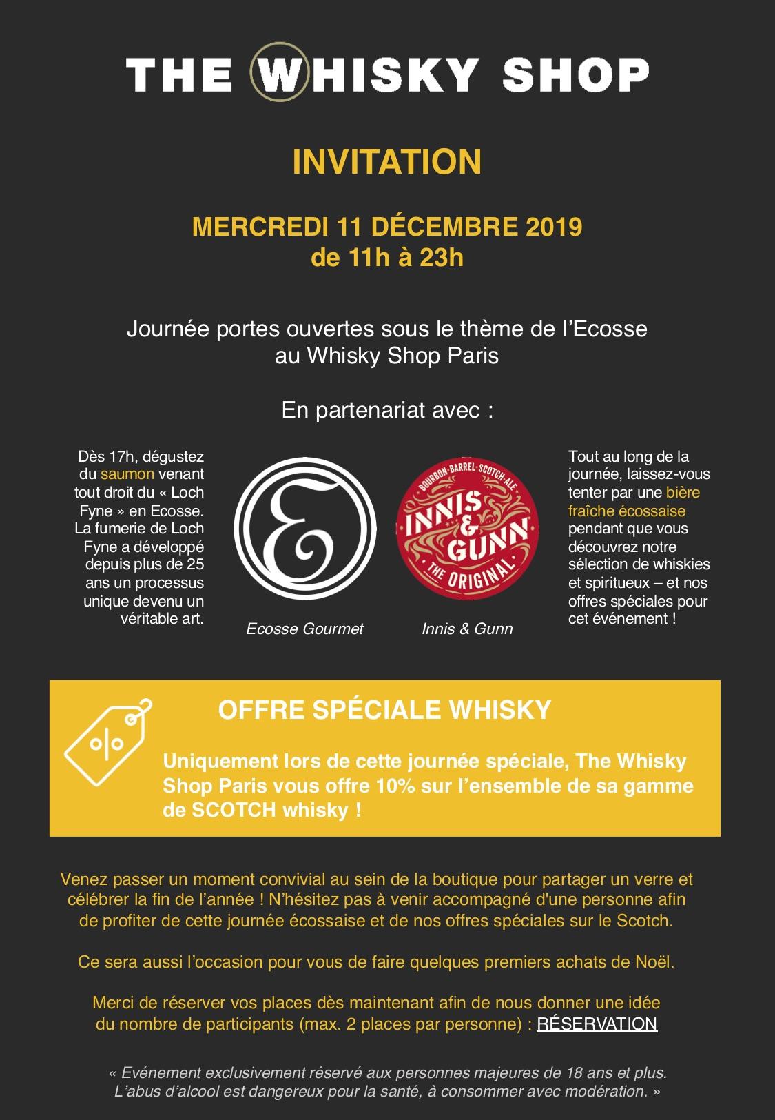Dégustation de whisky Gratuite le 11 Décembre - Paris (75)