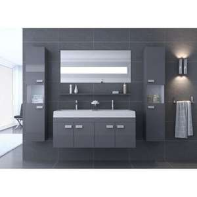 Salle de bain complète Alpos 1.20 m gris brillant