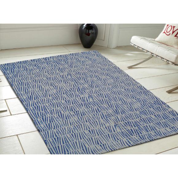 Tapis tissé à la main Casablanca - Bleu, Coton, L.180 x l.120 cm