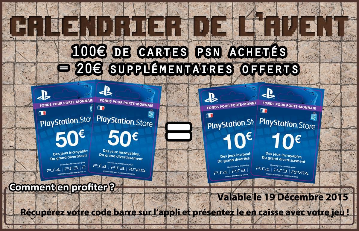 100€ de Cartes PlayStation Store achetées = 20€ supplémentaires offerts et 100€ de Cartes Steam