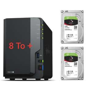 Serveur de stockage NAS Synology DS218+ - 2 baies + 8 To (x2 IronWolf de 4 To) 3.5'' SATA III 6 Gb/s, Cache 64 Mo
