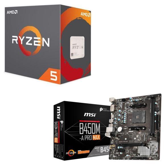 Processeur AMD Ryzen 5 2600 Wraith Stealth Edition - 3,4/3,9 GHz + Carte Mère B450M-A PRO MAX (Micro-ATX)