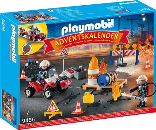 Calendrier de l'Avent Playmobil : Pompiers et incendie de chantier n°9486