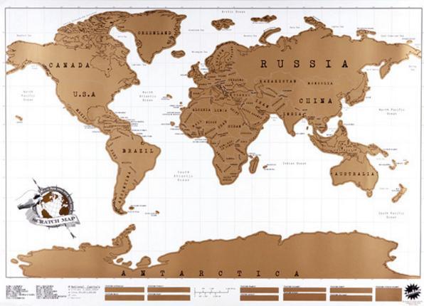 Carte du monde 88x52cm à gratter