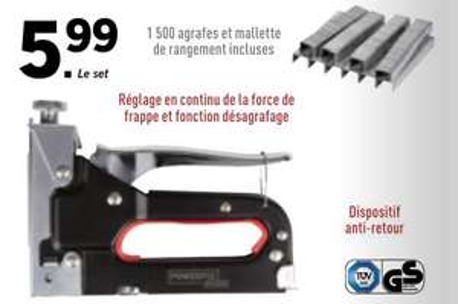 Agrafeuse Manuelle Powerfix + 1500 Agrafes + Malette de Rangement