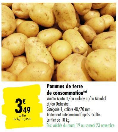 Filet de 10 kg de pommes de terre de consommation - Carrefour Mulhouse (68)