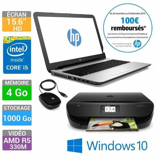 """PC Portable 15.6"""" HP 15-ac119nf + Imprimante HP Envy 4522 + Souris Filaire HP X1200 (Avec ODR de 100€)"""