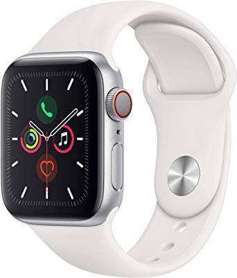 Montre connectée Apple Watch Series 5 (GPS + Celluar) - 40mm, Gris Sidéral avec Bracelet Sport Blanc
