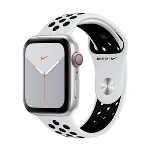 Apple Watch Nike Series 5 44mm (GPS + Cellular) [Frontalier Suisse uniquement] bracelet Nike Sport Band Platine pur/Noir