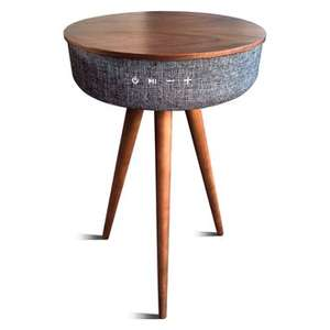 Table bois design avec enceinte bluetooth intégrée
