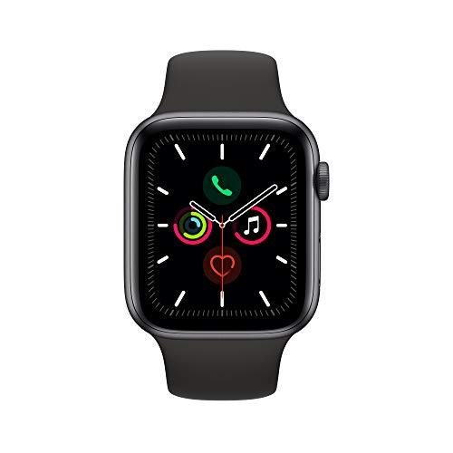 Montre connectée Apple Watch Series 5 (GPS, 44 mm) Boîtier en Aluminium Gris Sidéral - Bracelet Sport, Noir
