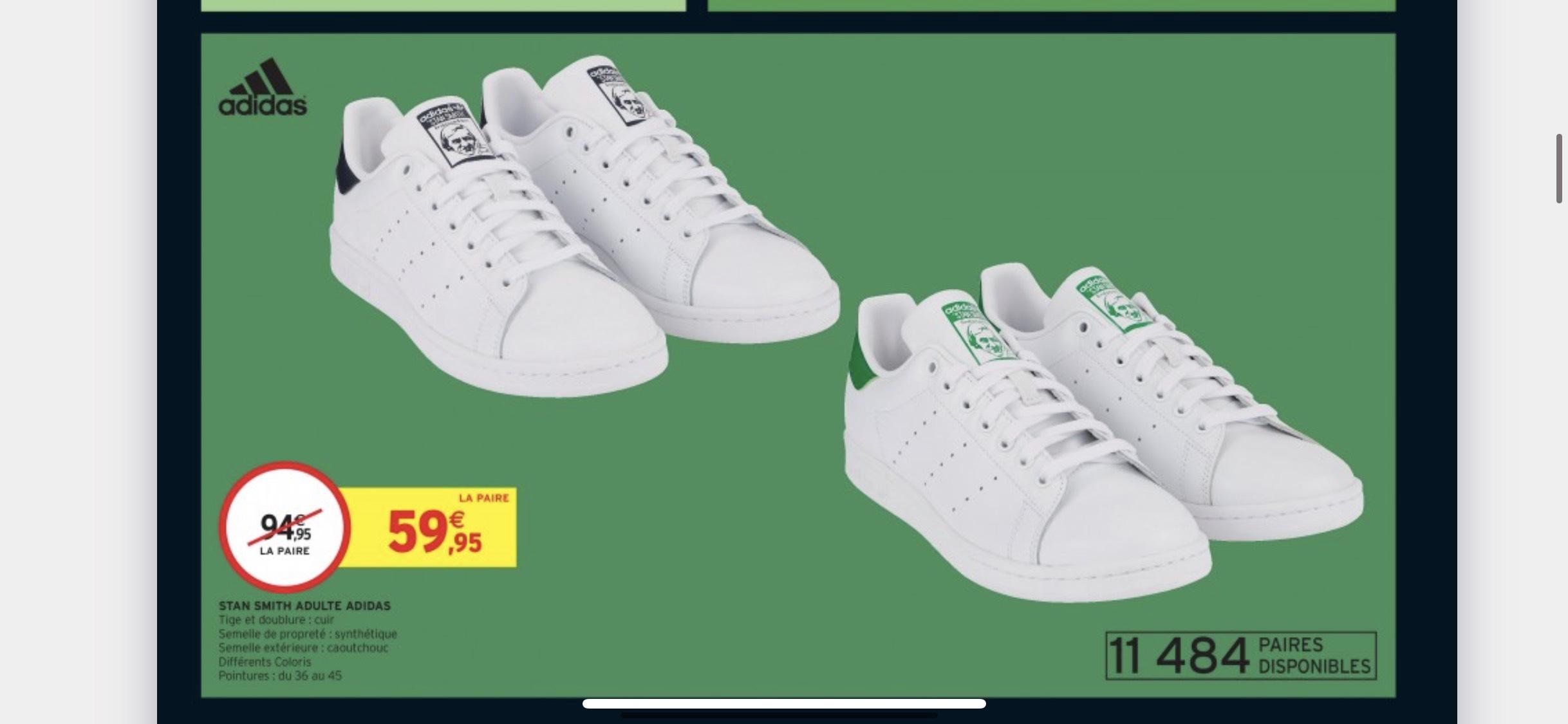 Baskets Adidas Stan Smith - Différents coloris (Tailles 36 au 45)
